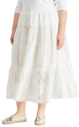 Lauren Ralph Lauren Plus Tiered Eyelet Lace Cotton A-Line Skirt