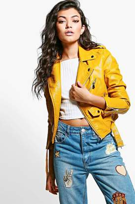boohoo Savannah Crop Leather Look Biker Jacket