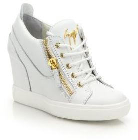 Giuseppe Zanotti Leather High-Top Zip Wedge Sneakers $795 thestylecure.com