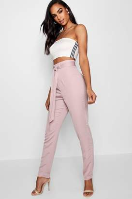 boohoo Tall Belted Woven Trousers