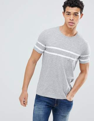 Benetton Crew Neck T-Shirt With Double Chest Stripe