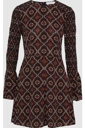 A.L.C. Alexa Shirred Printed Silk-Crepe Mini Dress