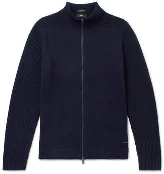 HUGO BOSS Slim-Fit Cotton and Virgin Wool-Blend Zip-Up Cardigan