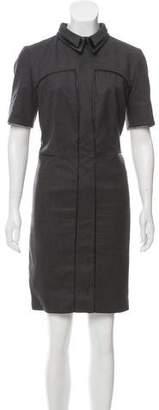 Saint Laurent Leather Trimmed Wool Sheath Dress