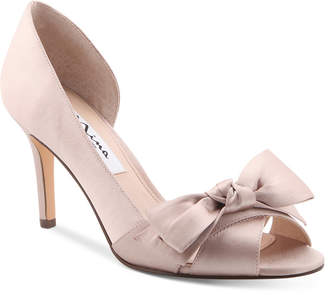 Nina Forbes 2 Bow Peep-Toe D'Orsay Evening Pumps Women Shoes