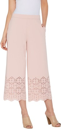 Dennis Basso Luxe Crepe Pull-On Crop Pants w/ Laser Cut Detail