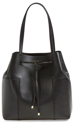 Tory Burch 'Block-T' Leather Drawstring Tote - Black $425 thestylecure.com