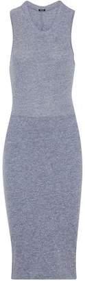 Monrow Cutout Knotted Mélange Jersey Midi Dress
