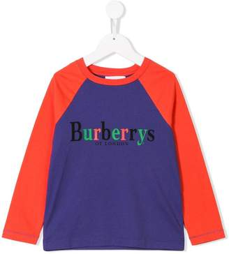 Burberry Archive Logo Print Two-tone Cotton Top