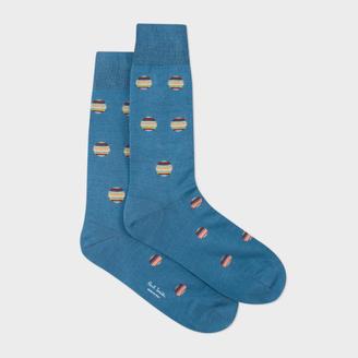 Men's Sky Blue Polka Dot Stripe Socks $30 thestylecure.com