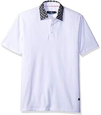 Stone Rose Men's Printed Collar Pique Polo Shirt