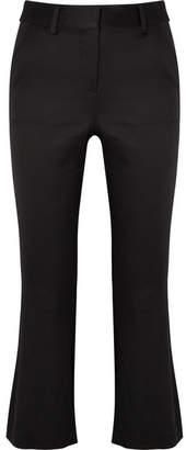 Frame Cropped Satin Flared Pants - Black