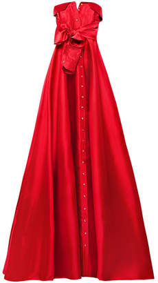 Alexis Mabille Bow-detailed Satin-twill Gown - Red