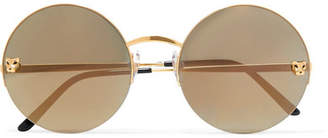 Cartier Eyewear - Panthère Round-frame Gold-plated Mirrored Sunglasses