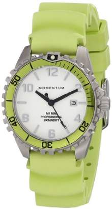 Momentum Women's Quartz Watch | M1 Mini by | Stainless Steel Watches for Women | Dive Watch with Japanese Movement & Analog Display | Water Resistant ladies watch with Date - White / Lime Rubber