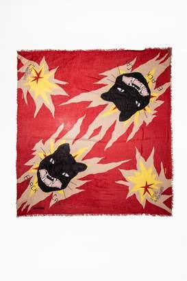 Zadig & Voltaire Delta Twin Cats Scarf