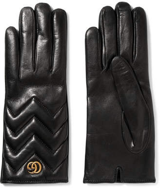 Gucci Quilted Leather Gloves - Black