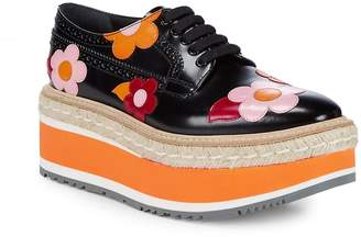 Prada Women's Flower-Print Platform Espadrille Leather Oxfords