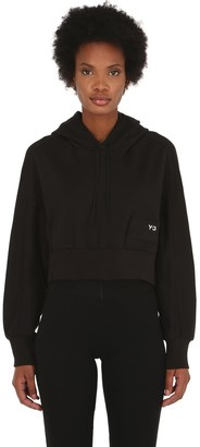 Y-3 Y 3 Stacked Badge Cropped Cotton Hoodie