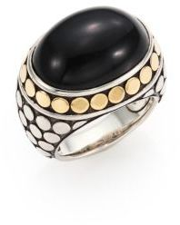 John Hardy Batu Dot Onyx, 18K Yellow Gold & Sterling Silver Dome Ring $895 thestylecure.com