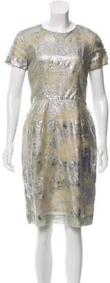 Peter Som Metallic-Accented Knee-Length Dress