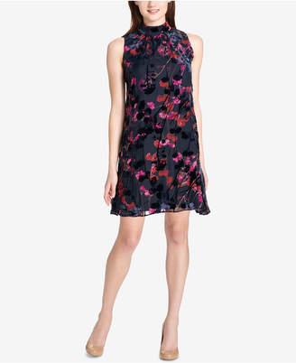 Tommy Hilfiger Mock-Neck Floral Velvet Burnout Dress