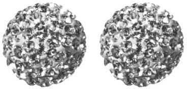 Sterling Silver Crystal Ball Stud Earring - White