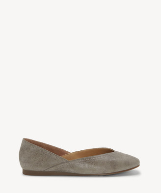 6f48670aea2 Lucky Brand Women's Alba V Cut Flats Titanium Size 5 Leather From Sole  Society