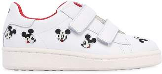 Embroidered Leather Strap Sneakers