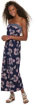 Trixxi Juniors' Strapless Floral Jumpsuit