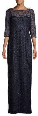 Kay Unger Sequined Lace Column Gown