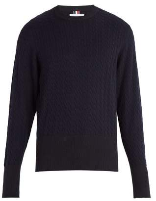 Thom Browne Crew Neck Cable Knit Sweater - Mens - Navy