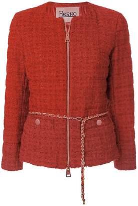Herno belted tweet jacket