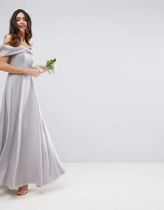 Asos DESIGN Bridesmaid bow front soft maxi prom dress