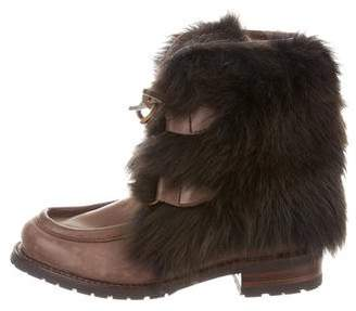 AERIN Shearling Leather Ankle Boots