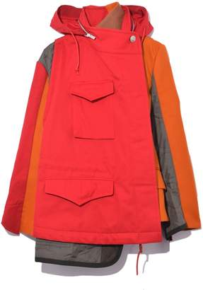 Sacai Melton Wool Nylon Cotton Hoodie Coat in Red/Orange