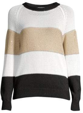 Peserico Colorblock Sequin Crewneck Sweater