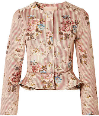 Brock Collection Janet Cotton And Silk-blend Jacquard Peplum Jacket - Blush