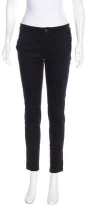 Stella McCartney Mid-Rise Velvet-Paneled Jeans