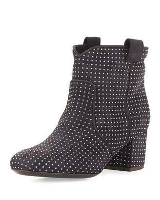 Laurence Dacade Belen Studded Suede Ankle Boot, Anthracite Navy $995 thestylecure.com
