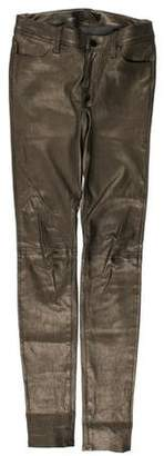 J Brand Leather Mid-Rise Skinny Pants