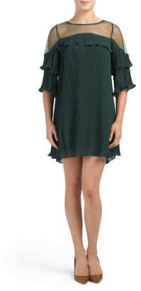 Juniors Pleated Dress With Mesh