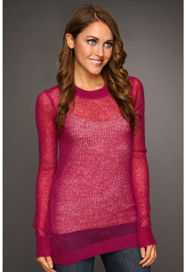 Kenneth Cole New York - Long Sleeve Ballet Neck Open Stitch Sweater (Bright Fuchsia) - Apparel