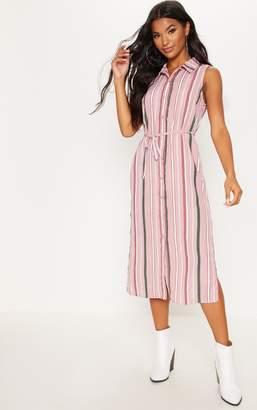 PrettyLittleThing White Stripe Button Down Shirt Midi Dress
