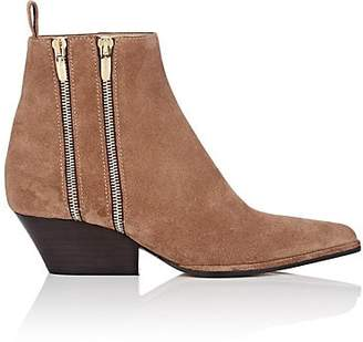Sergio Rossi Women's Double-Zip Suede Ankle Boots - Brown