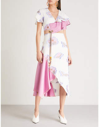 Peter Pilotto Contrast-panel floral-jacquard midi dress