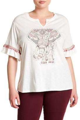 Democracy Embellished Elephant Print Tee (Plus Size)