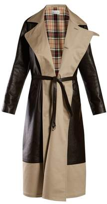Balenciaga Bi Colour Tie Waist Leather And Canvas Coat - Womens - Brown Multi