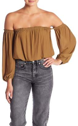 Lush Off-the-Shoulder Long Sleeve Woven Blouse