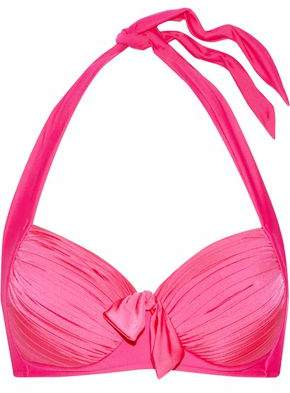 Seafolly Woman Knotted Pleated Halterneck Bikini Top Fuchsia Size 12
